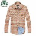 АФН JEEP Falow Оригинальный Бренд Оранжевый Цвет Осенью мужские Случайные Плед Хлопок Рубашка С Длинным Рукавом Кардиган тонкий Рубашки Плюс размер