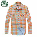 AFS JEEP Falow Original Brand Orange Color Autumn Men's Casual Plaid Cotton Shirt Long Sleeve Cardigan slim Shirts Plus Size
