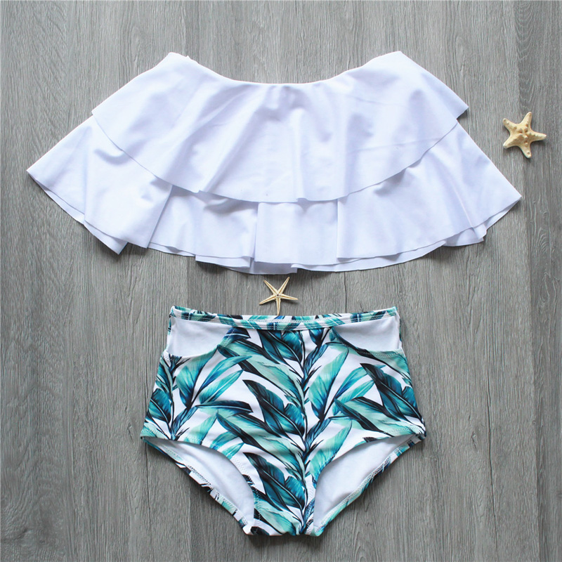 Bikini New Doubledeck flouncing Swimsuit plus size XXL bathing suit sexy women High waist swiming suits Off Shoulder Swimwear