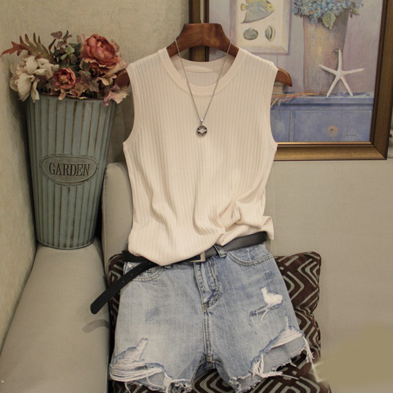 Knitted Vests Women Top O-neck Solid Tank Fashion Female Sleeveless Casual Thin Tops 2020 Summer Knit Woman Shirt Gilet Femme 5