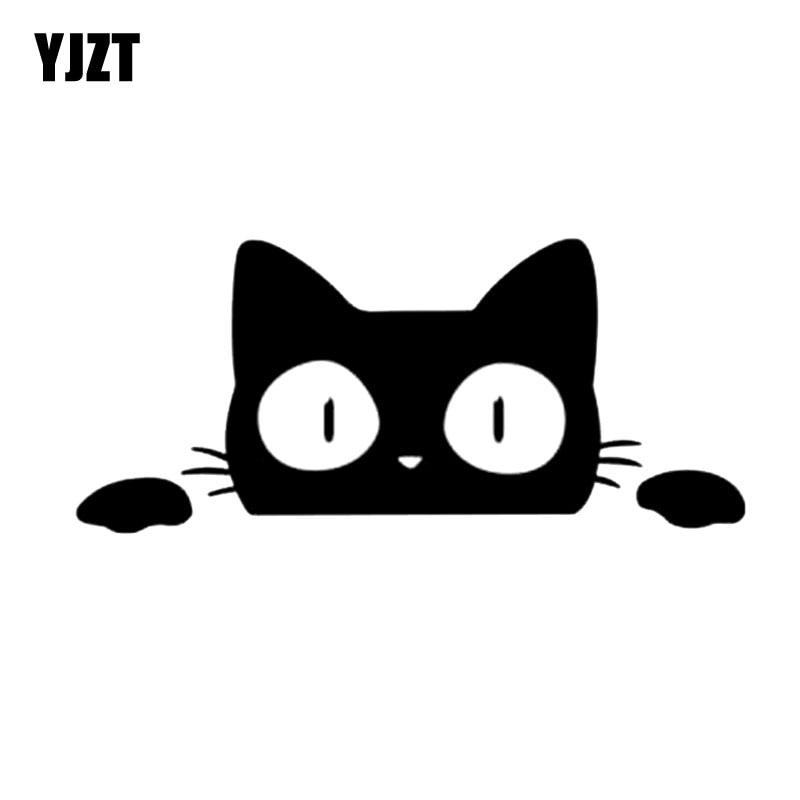 YJZT 14CM*6.2CM Surprise Cat Peeking Car Sticker Vinyl Decal C2-3015