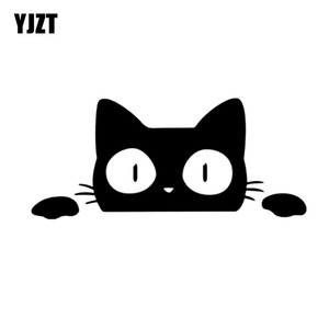 YJZT 14CM*6.2CM Surprise Cat Peeking Car Sticker Vinyl Decal C2-3015