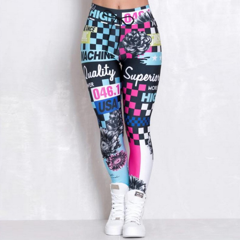 3D imprimir Fitness Mujer carta Leggings cintura alta Push Up Skinny pantalones seco rápido impreso Leggins