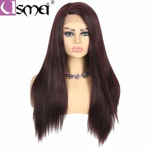 USMEI Lace front wig Yaki straight long synthetic fiber L Part black 99J# Brown for women cosplay Heat Resistant Handmade wigs wignee hand made front ombre color long blonde synthetic wigs for black white women heat resistant middle part cosplay hair wig