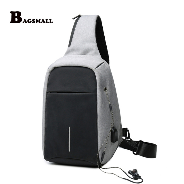 Bagsmall Men S Crossbody Bags With Usb Charger Single Strap Male Chest Sling Bag Waterproof Ipad Switch