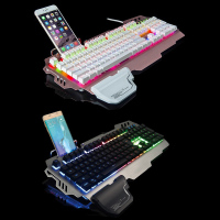 104 Keys USB Gaming Keyboard Luminous Floating Durable Internet Bar Accessories Desktop Laptop Black / Gold