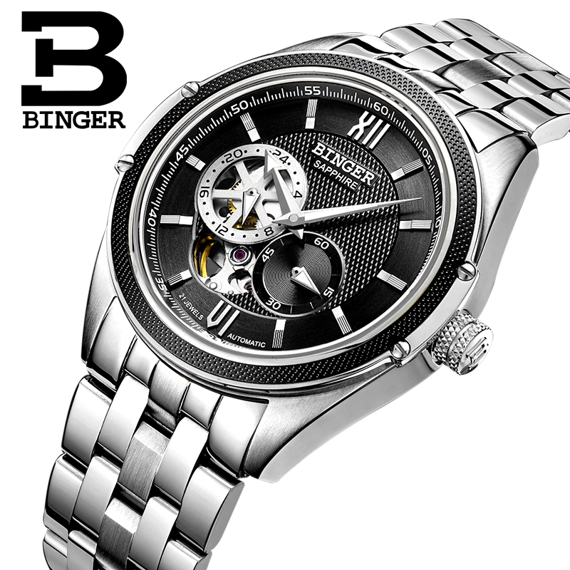 Switzerland Binger Watch Men Luxury Brand Miyota Automatic Mechanical Movement Watches Sapphire Waterproof reloj hombre B-1165-3 switzerland mechanical men watches binger luxury brand skeleton wrist waterproof watch men sapphire male reloj hombre b1175g 3
