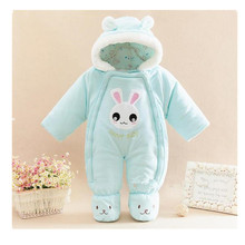 Winter Plus Thick Long Sleeve Cute Baby Rompers Lovely Cartoon Style Bobycon Jumpsuit 0-12M Rompertjies Coverall Outerwear