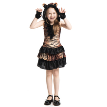 Girls Cute Jungle Tiger Animal Themed Tigress Child Kids Playtime Fancy Dress Halloween Party Carnival Cosplay Costume