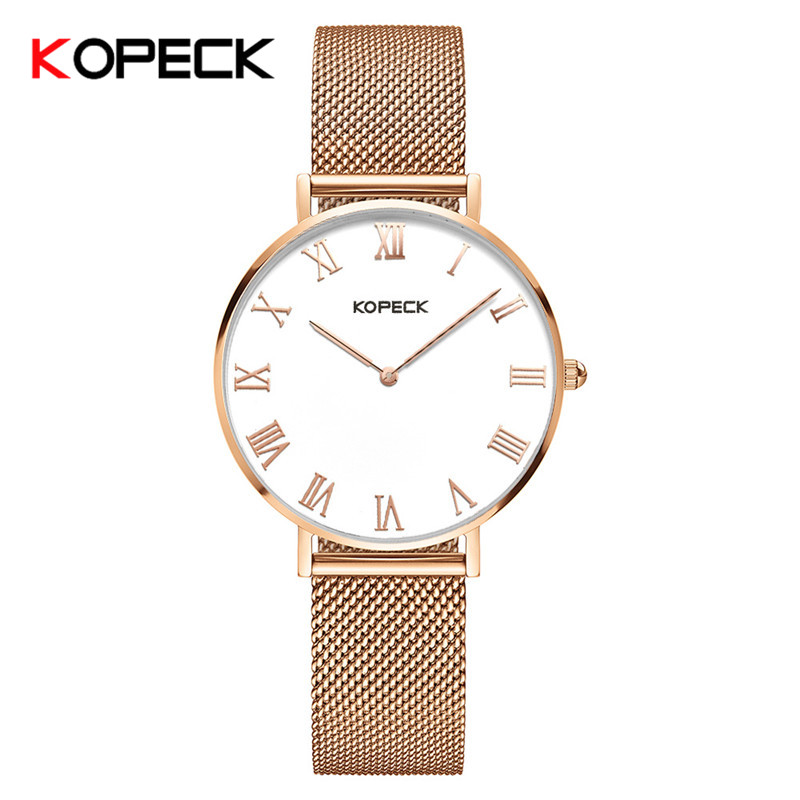 Kopeck Brand Ladies Watch Luxury High Quality Wristwatch Quartz Simple Watch Women Milan Mesh Stainless Steel Band Waterproof onlyou brand luxury fashion watches women men quartz watch high quality stainless steel wristwatches ladies dress watch 8892