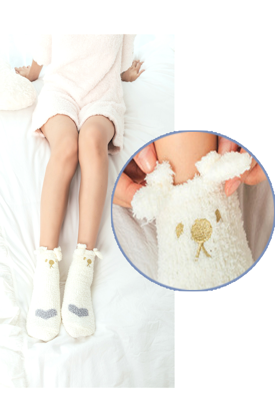 Ladies Winter Japanese Embroidery Animal Corals Velvet Stereo Ear Thick Warm BedS Bed Home Fluffy Socks Coral Velvet Foot Cover (11)