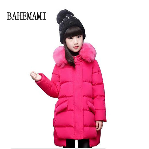 New Hot 2016 Brand Casual Children Parka Girls Winter Coat Long Duck Down Thick Faux Fur Hooded Winter Jacket For Girls