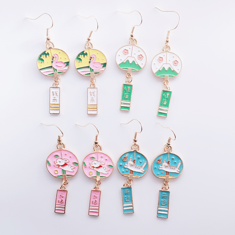 Japanese Style Bell Alloy Drop Earrings Cute Rabbit Cat Swan Pendant Earrings New Year Wealth Blessing Female Trendy Jewelry