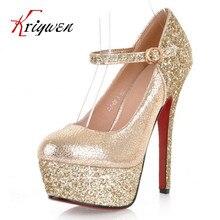 HEIßER verkauf 2015 new sexy thin high heels bling glitter frau schuhe club runde kappe dame kleid schuhe partei schuhe plattform-pumpen