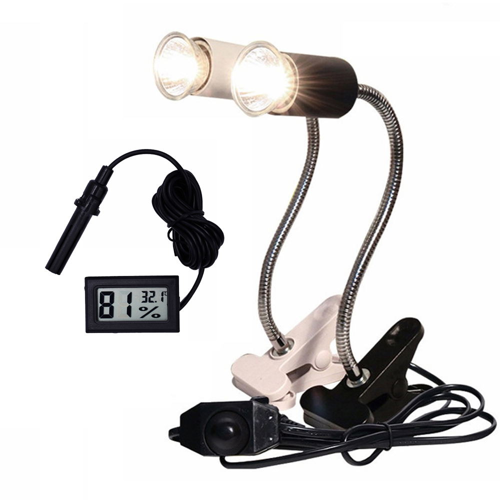 Reptile Lamp Set UVA+UVB 3.0 Lamp Clip-on Bulb Lamp Holder Thermometer Hygrometer Turtle Tortoises Basking Lamp Heat Light Kit