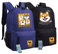 Cutie Queen's Corgi Dog Shiba Inu Kawaii doge Backpack Bag Big Smile Face Canvas Backpack Canvas School Bag Xmas Gift 45x32x12cm