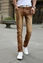 Модные мужские джинсы, новинка 2016, однотонные, стрейчевые узкие джинсы, Мужские повседневные брюки, мужские штаны, Трико(China (Mainland))