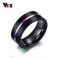 Vnox 8MM Tungsten Carbide Ring For Men Jewelry Thin Rainbow Color Line Wedding Ring