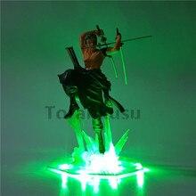 Цельная фигурка Roronoa Зоро, светодиодный светильник, модель игрушки 200 мм, ПВХ игрушка, цельная Аниме Фигурка Зоро, Diorama