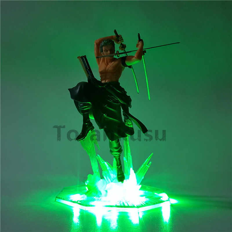 One Piece Action Figure Roronoa Zoro Led Light Model Toy 200mm PVC Toy One Piece Anime Zoro Figurine Diorama