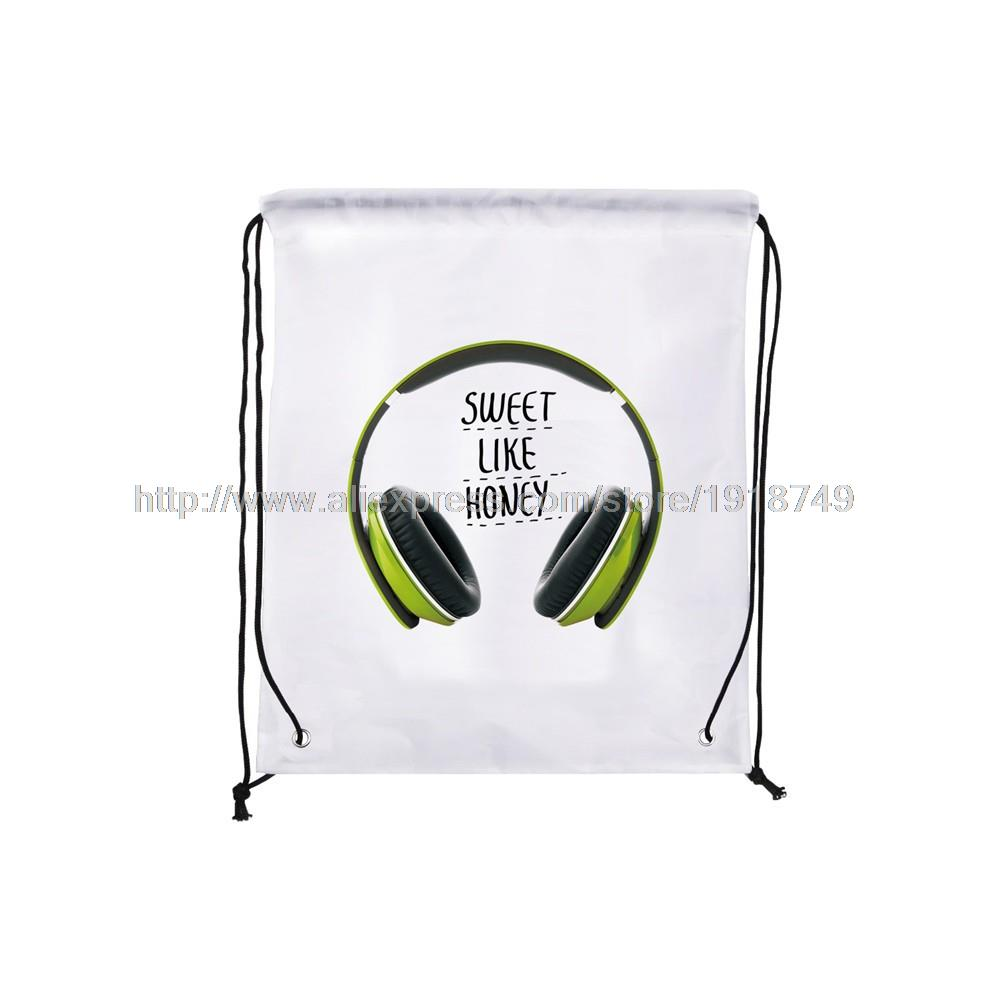 four pcs/lot letter sweet like honey with earphone printed custom shopping bags foldable ...
