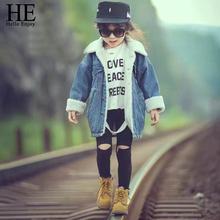HE Hello Enjoy Girls Jean kurtka Zima Moda dla dzieci płaszcz dziewczyna ubrania jagnięcina wełna Cowboy bawełna denim odzieży wierzchniej dzieci Odzież tanie tanio Odzież wierzchnia i Płaszcze Kurtki LL476 Stałe Unisex Wagi ciężkiej Lycra poliester bawełna Pasuje do rozmiaru Weź swój normalny rozmiar