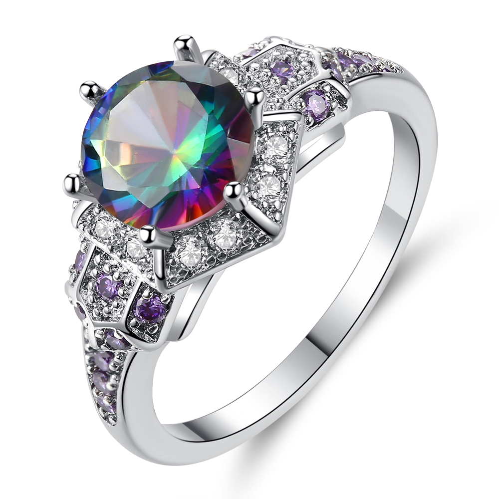 Cinily Zircon Jewelry Rainbow-Stone Ring-Size Wedding-Gift Silver-Plated Women for 6-9