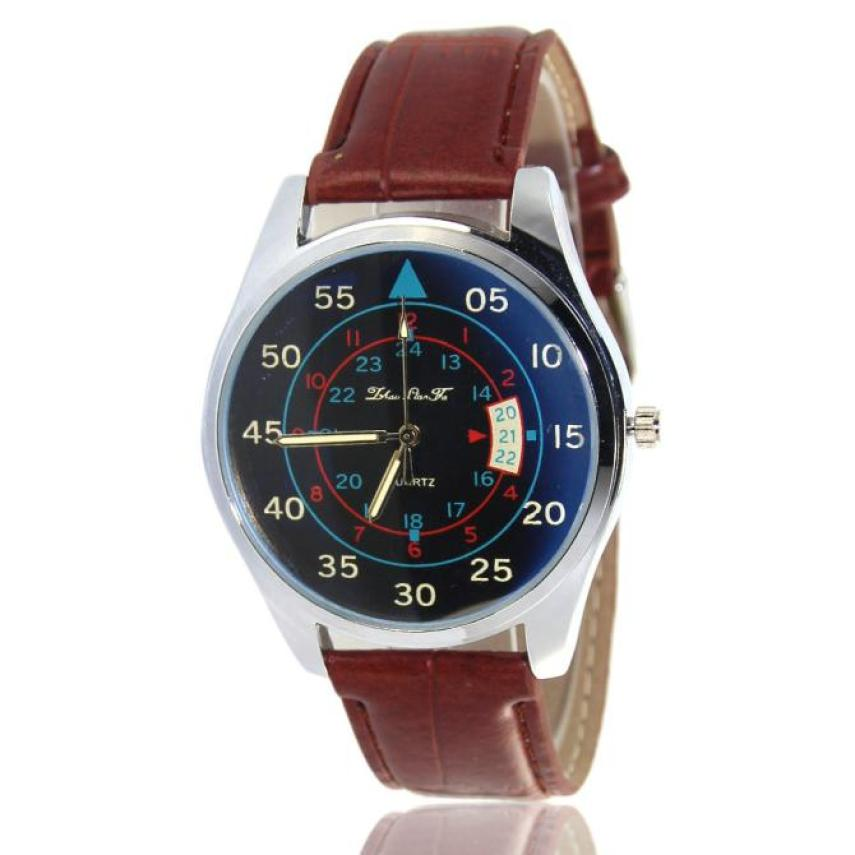 Men Watch Drop Shipping Gift Relogio Masculino Digital Pattern Leather Band Analog Quartz Vogue Wristwatches july6