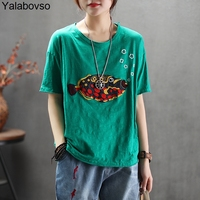 Bamboo Cotton Soft Comfortable T shirts summer for woman Green white yellow red colors with cartoon Embroidery Tees Tops A0BZ30
