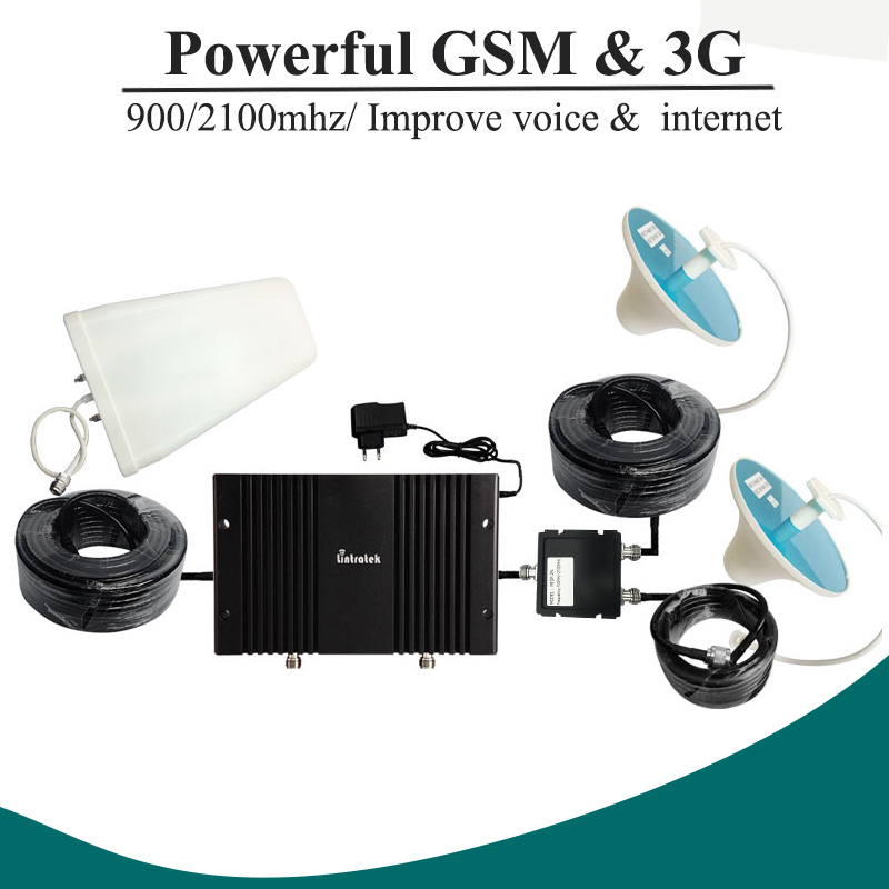 73dB Gain GSM 900mhz 3G WCDMA 2100mhz Dual Band Repeater Booster GSM 3G UMTS 2100 Mobile Phone Signal Amplifier +2 Antenna 32