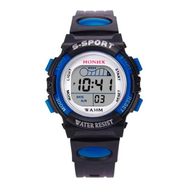 2016 Hot Sale HONHX Children Boys Digital LED Sports Watches Kids Alarm Date Wat