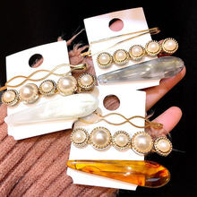 Korea 3pcs/set women girls metal marble grain hair clip headpieces combination barrette pearls hairpin accessories M40