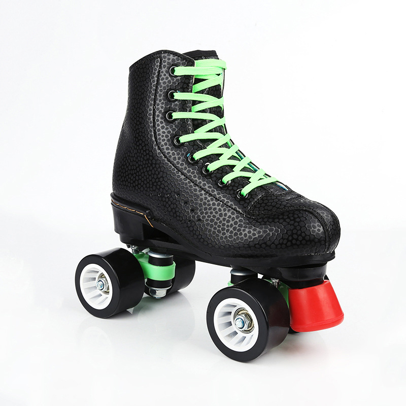 Black leather double row skates professional skates four roller skates outdoor adult dance shoes