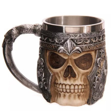 Free Shipping 1Piece Striking Skull Warrior Tankard Viking Skull Beer Mug Gothic Helmet Drinkware Vessel