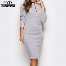 New 2018 Office Work Dress Women With Sleeves O Neck Zipper Elegant Long Sleeve Knee Length Pencil Dress Ladies Clothing #1213