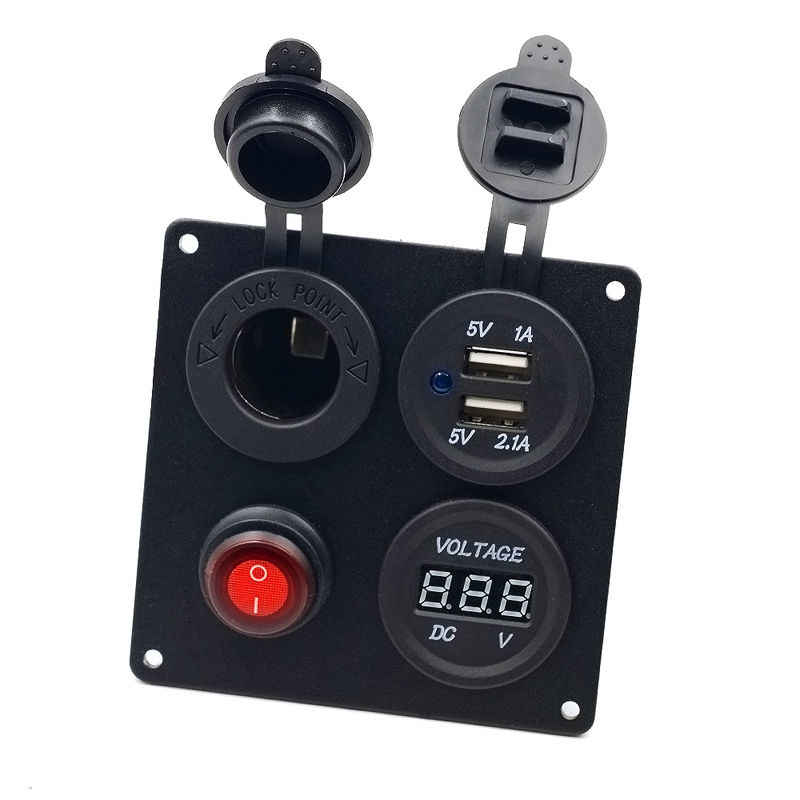 AU Dual USB Charger& Voltmeter&12V Socket&ON-OFF Button Switch 4 Hole ABS&aluminum plate for Car Truck black 9*9*7.5 cm IP65