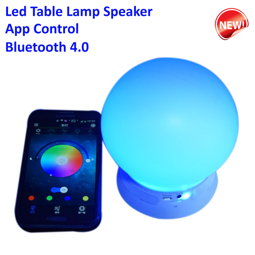 APP Control Bluetooth 4.0 Led Table Lamp Speaker Music Led Bulb Rechargeable Led Lamp for IOS Android Devices with TF Card Slot