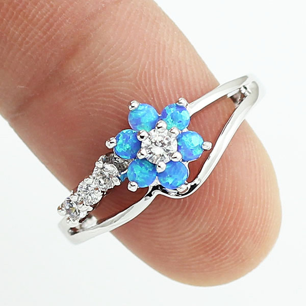 HAIMIS 2017 New Tiny Cute Blue Fire Opal Stones Flower Women Opal Rings Size 5-8.5 Free Shipping With Tracking Number 11W