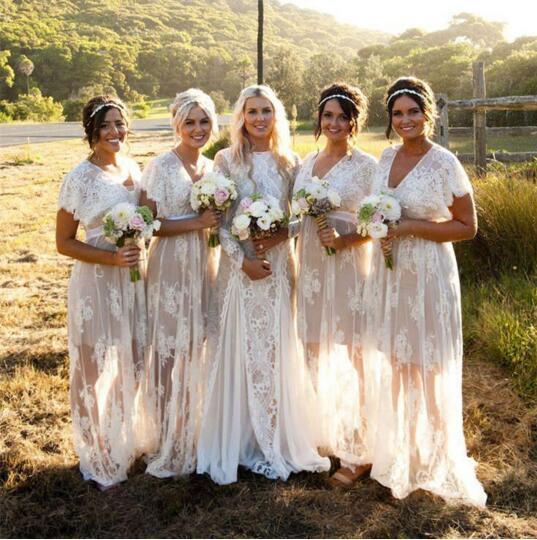 2018 robes de demoiselle d'honneur bohème été col en V manches courtes grande taille Boho plage pure dentelle robes de mariée blanches sur mesure