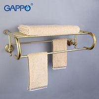 GAPPO Top Quality Gold Wall Mounted Bathroom Shelves Bathroom Shelves Restroom Shelf Hardware Accessories In Two