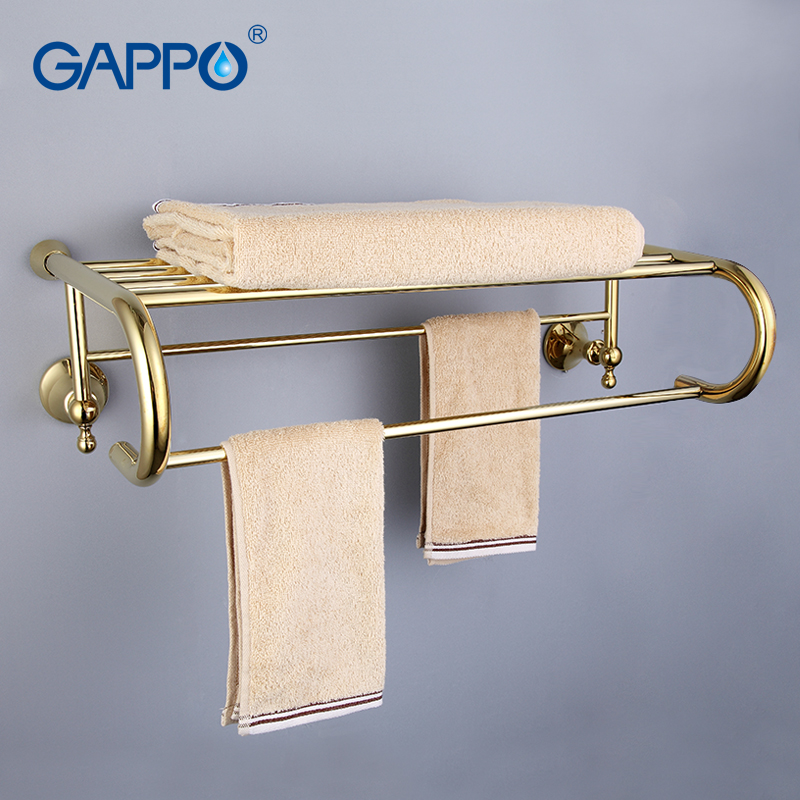 GAPPO Top Quality Gold Wall Mounted Bathroom Shelves Bathroom Shelves restroom shelf Hardware Accessories in two hooks G1424 25cm two hooks household ornament shelf wall commodity shelf wall mounted hook wall bracket