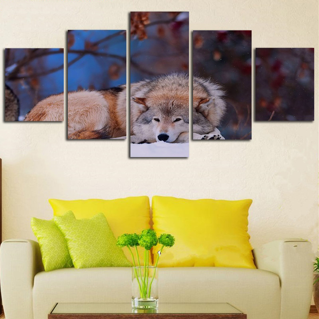 Framed Painting Canvas Modular Home Decor 5 Panel Animal Wolf Modern ...