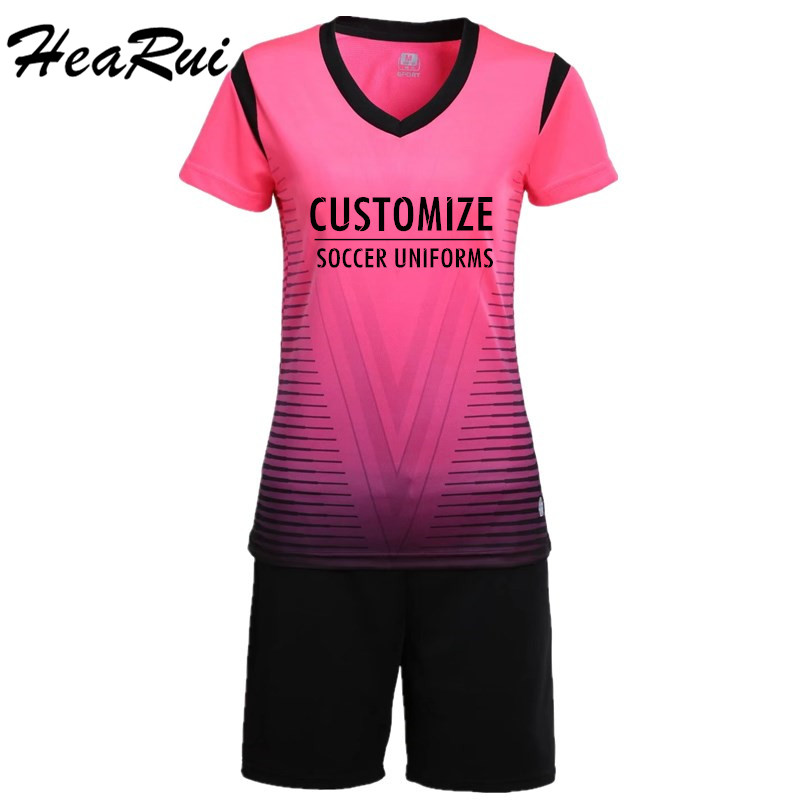 2017 Women Short Sleeve Soccer Jersey Lady Soccer Suits Girls Football Uniforms Sportswear Yoga Gym Tennis Shirts +Shorts Sets