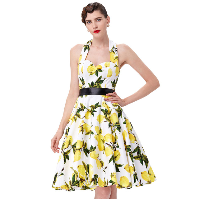 16e2a184234e Lemon Print Floral 50s 60s Vintage Dresses Sleeveless Summer Style Retro  Vestidos Robe Womens Clothing 2017 Audrey Hepburn Dress