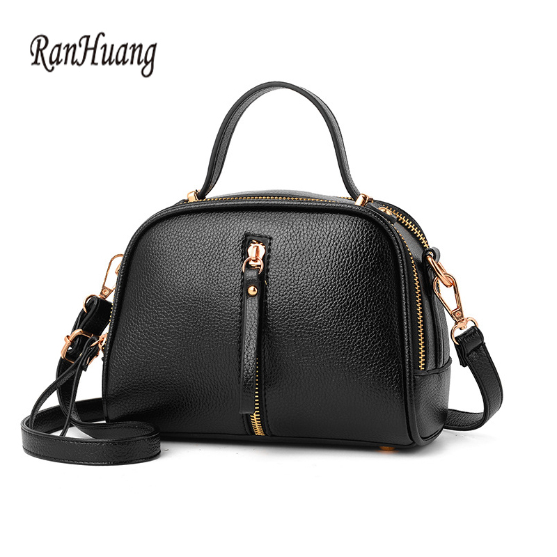 RanHuang Women small Tote Handbags Fashion Shoulder Bags For Girls High Quality Pu Leather Handbags Crossbody Bags Black Color classic black leather tote handbags embossed pu leather women bags shoulder handbags elegant