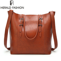 HERALD FASHION Women Handbags High Quality PU Leather Large Capacity Tote Bag Female Top Handle Bags