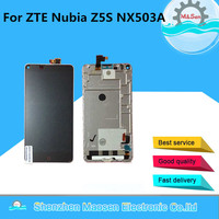 LCD Screen Display Touch Digiziter With Frame For ZTE Nubia Z5S NX503A J Black Free Shipping