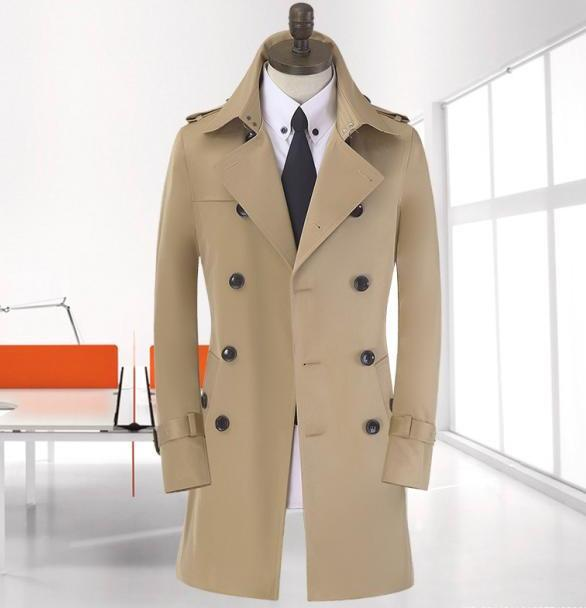 long coat men khaki beige