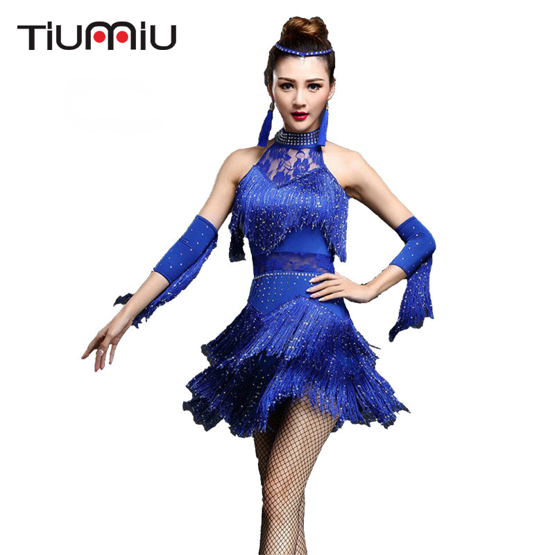 Women Tassels Floral Printed Mesh Latin Dance Dress Rumba Samba Cha Cha Ballroom