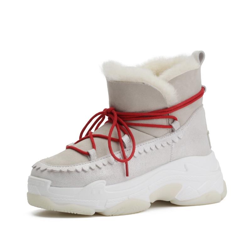 4829335f0569c Mode Bottes Esquimau Fourrure Neige forme Haute Mujer Chaussons Cuir Femmes  Sneakers Hiver Plate Lacent En ...